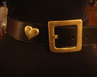 Vintage 1990s Black Leather with Brass Square Buckle and Concho Hearts