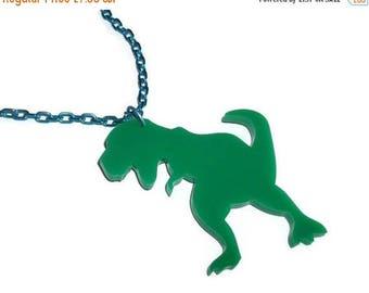 T Rex Necklace. Green Dinosaur, Laser Cut Acrylic Necklace