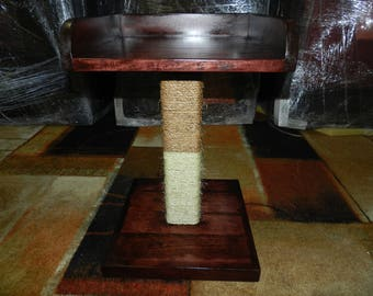 Wood cat tower, Cat Perch, Cat Tree, Sisal rope, Shelf Tray, Elevated cat stand, Cat Bed, scratching post Free US Shipping!