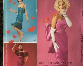 Misses Adult Halloween Costume Sewing Pattern, Marilyn Monroe, Flapper and Flamenco Dancer McCalls 3385 Size 6 8 10 12 Uncut FF