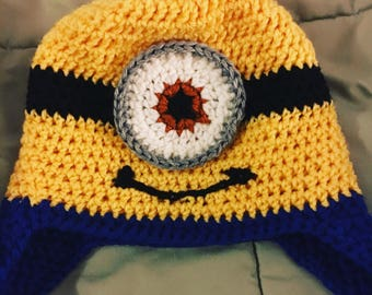 Minion earflap hat- custom size- made to order-winter hat
