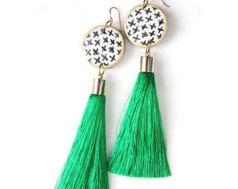 CROSS Tassel ART Earrings - BLACK silk tassel or green - Next Romance Jewels Melbourne Australia boho luxe gold silver