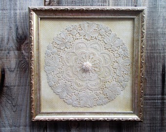 Beau Shabby Chic Framed Doily, Shabby Chic Decor, Lace Doily Art, Shabby Chic  Wall