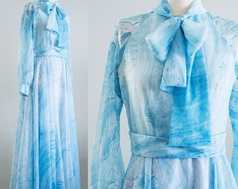 July Sale 1970s// Don Luis de España// Blue Marbled Chiffon// Sheer Sleeve// Hostess Maxi Gown// M