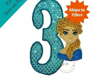 Princess birthday, number 3, third birthday party, teal, gold glitter, ice princess, ice queen, iron on applique, embellishment, personalize
