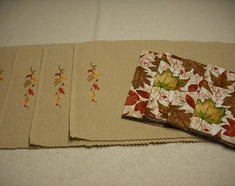 Set of 4 fall autumn maple leaf placemats and coordinating leaf cotton napkins.  Machine embroidered.