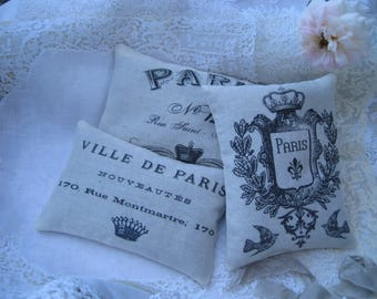 Vintage Paris Sachet Gift Bundle, Set of 3 Sachets, French inspired gift, Paris gift, Farmhouse, wedding shower event favor, typography