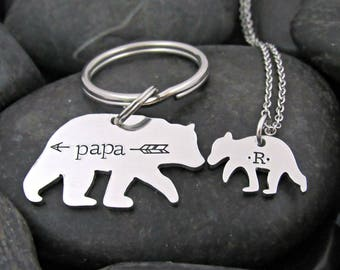 Daddy Keychain - Papa Bear - Baby Bear - Daddy Daughter - Father's Day - Gift for Dad - Keychain and Necklace Set - Personalized - Stamped