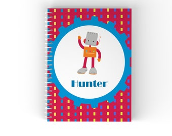 Personalized Notebook - Robot Boy Red Square Dot Lines with Name, Customized Spiral Notebook Back to School