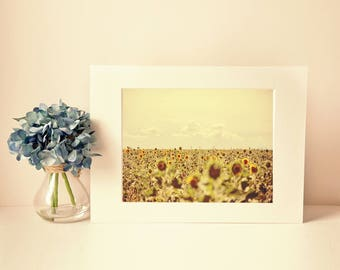 provence photography print, landscape photo, sunflower wall art, home decor, french style, travel, fine art photography, yellow, lensbaby