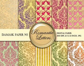 Sale 60% Damask Digital paper pack digital scrapbooking paper background Vintage