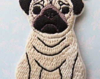 Pug Bag Charm, Hand Sewn and Embroidered