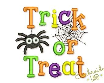 Trick or Treat Machine Embroidery Design 4x4 5x7 6x10 hoop HAL021