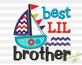 Best Lil Brother Ship Applique Machine Embroidery Design BA033