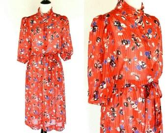 SUMMER SALE Vintage 80's Red Floral Casual Secretary Dress - Red sheer shirtwaist Dress - 80's summer dress - Midi day dress - size medium t