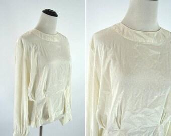 SUMMER SALE Vintage 80s 90s Cream Peplum Blouse - Long Sleeve Secretary Top - Back Button Silky Shirt - Ladies size 8