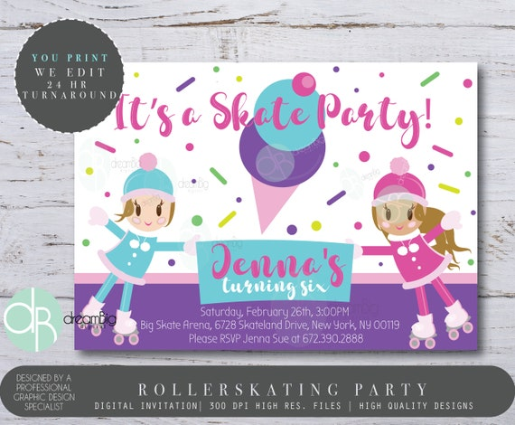 Roller Skating Invitation Girls Roller Skate Birthday Party