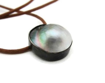 Black Tahitian Pearl Pendant, Men's  Pearl Necklace,  Mabe Pearl and Leather Necklace,  Artisan Handmade by Sheri Beryl
