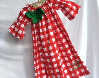 Christmas Dress, Christmas Personalized Dress, Christmas Dress with Monogram, Red Gingham Dress, Red and Green Dress, Baby, Toddler, Girl