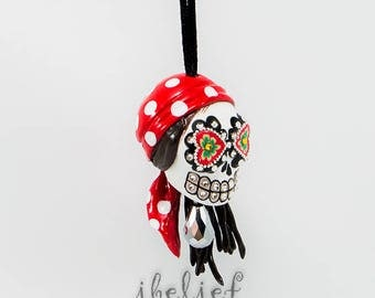 Ornament Skulls pirate day of dead charm hang rear view mirror for car