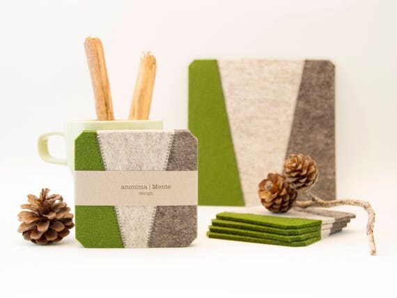 Set of felt coasters / square coasters / green and grey coasters / green coasters/ modern home design / wool felt / gift idea