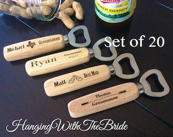 Set of 19 Personalized Bottle Opener, Groomsmen Gift, Wedding Gift, Engraved Wood opener, Custom Bottle Opener, Christmas gifts
