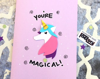 Unicorn card for any occasion - birthday card, friendship card, thank you card or just because!