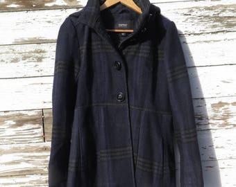 Esprit Plaid Coat Women's Blue Gray Wool Blend Winter Coat Size Medium M Removable Hood Esprit 1980s 90s Fashion Pleated Skirt