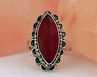 Red Onyx Handmade Ring // 925 Sterling Silver // Ring Size 7 // Handmade Jewelry
