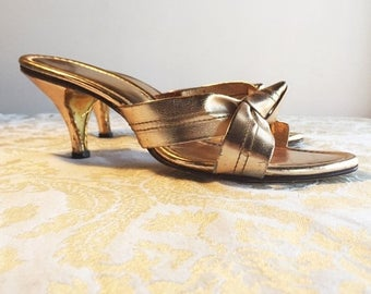 Back to School Sale Gold Metallic Heels / Vintage 1970's Open Toe Shoes / Pumps For Weddings and Prom / Womens Shoes