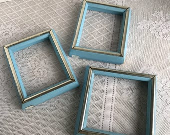 Vintage Blue Wood Frames  /  Set of Three Blue Frames Two 4 X 5 Frames and One 5 X 5 Frame