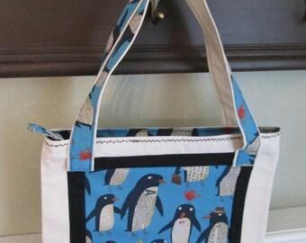 CIJSALE Penguin Tote - Child / Adult Canvas Tote Penguin Print Fabric Appliqué  Zipper Closure