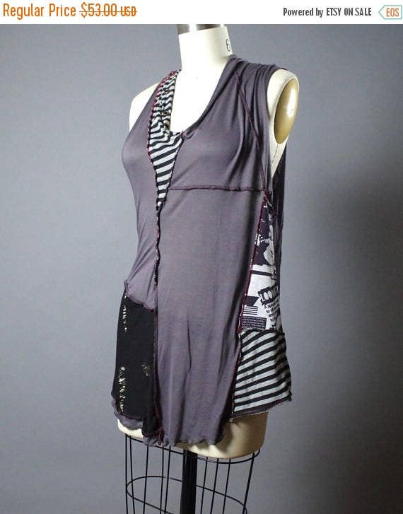 RESERVED - Patchwork OOAK Top - Summer Tops - Eco-friendly Clothing - Fashion - Striped - Funky