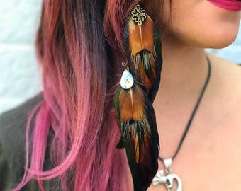 Scarlet Moon Feather Hair Clip