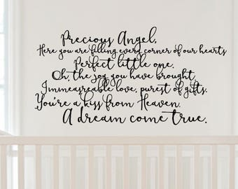 A Dream Come True, beautiful Nursery or Child's Room Custom Vinyl Wall Decal. Great Baby Shower gift.