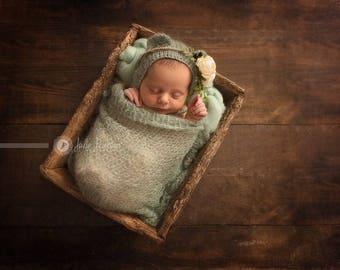 Newborn Bonnet, Mohair Bonnet, Bear Ears Hat, Newborn Wrap, Lace Blanket, Lace Mohair Wrap in Mint Green, more colors