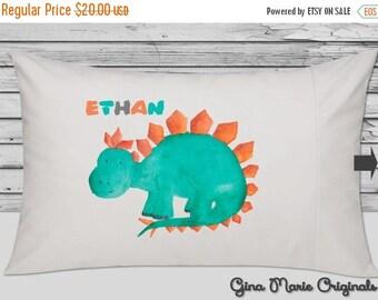 SALE Personalized Pillow Case Pillowcase Dinosaur Stegosaurus Boy Girl Toddler Kids Children Baby Birthday Christmas Gift Bedding
