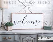 Large WELCOME sign, cursive, framed, wood sign, sign, Welcome, 17x33