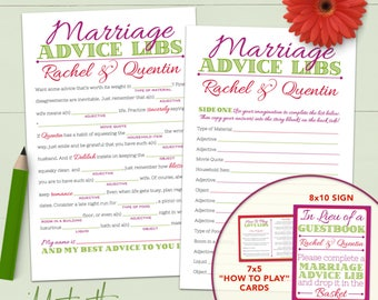 Wedding Mad Lib Marriage Advice Guestbook - Custom Printable Or Printed [#212]
