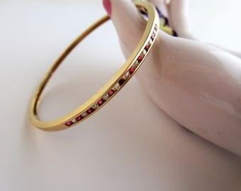 Sale--14k Gold Diamond and Ruby Bangle Bracelet