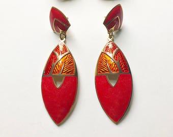 Vintage red Edgar Berebi large statement earrings