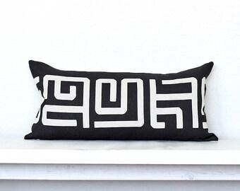 """Kuba Modern Tribal Lumbar Pillow Cover - 12"""" x 24"""" -Black Combo"""