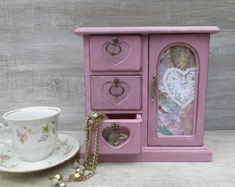 Pink Distressed Jewelry Box