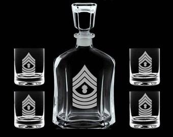 Personalized USMC whiskey decanter set USMC marines retirement promotion sponsor gift
