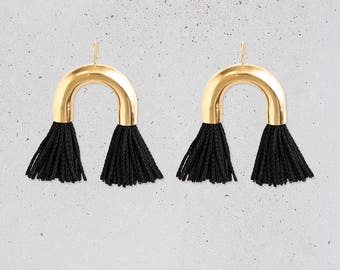 NEW Arch Tassel Statement Earrings / short black fringe / gold tube / fun New Year's Eve party jewelry / fashion gift for her