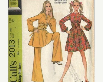 ON SALE VTG Junior/Teen Bell Bottom Pants and Dress with Center Wrap Ties, McCall's 2013 Pattern, Size 7/8