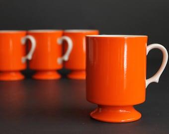 Vintage Tangerine Orange With White Handle China Tea Coffee Cup Set of Four ( 4 ) Retro Stacking Mugs