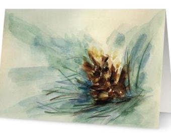 Pine Cone Cards 4 in a pack with white envelopes - Blank Inside FREE SHIPPING!