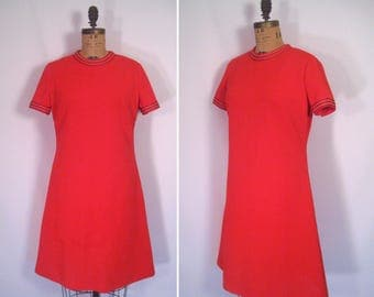 1960s scarlet red shift dress • 60s mod nautical scooter dress • vintage blast off dress