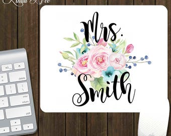 Mrs Mouse Pad, Gifts for Mrs, Mrs Flower Mousepad, Personalized Mousepad, Teacher Gift, Mrs Floral Gift, Mrs Wedding Gift, Mrs Birthday AP8